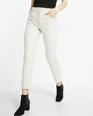 high waisted five pocket stretch straight cropped pant