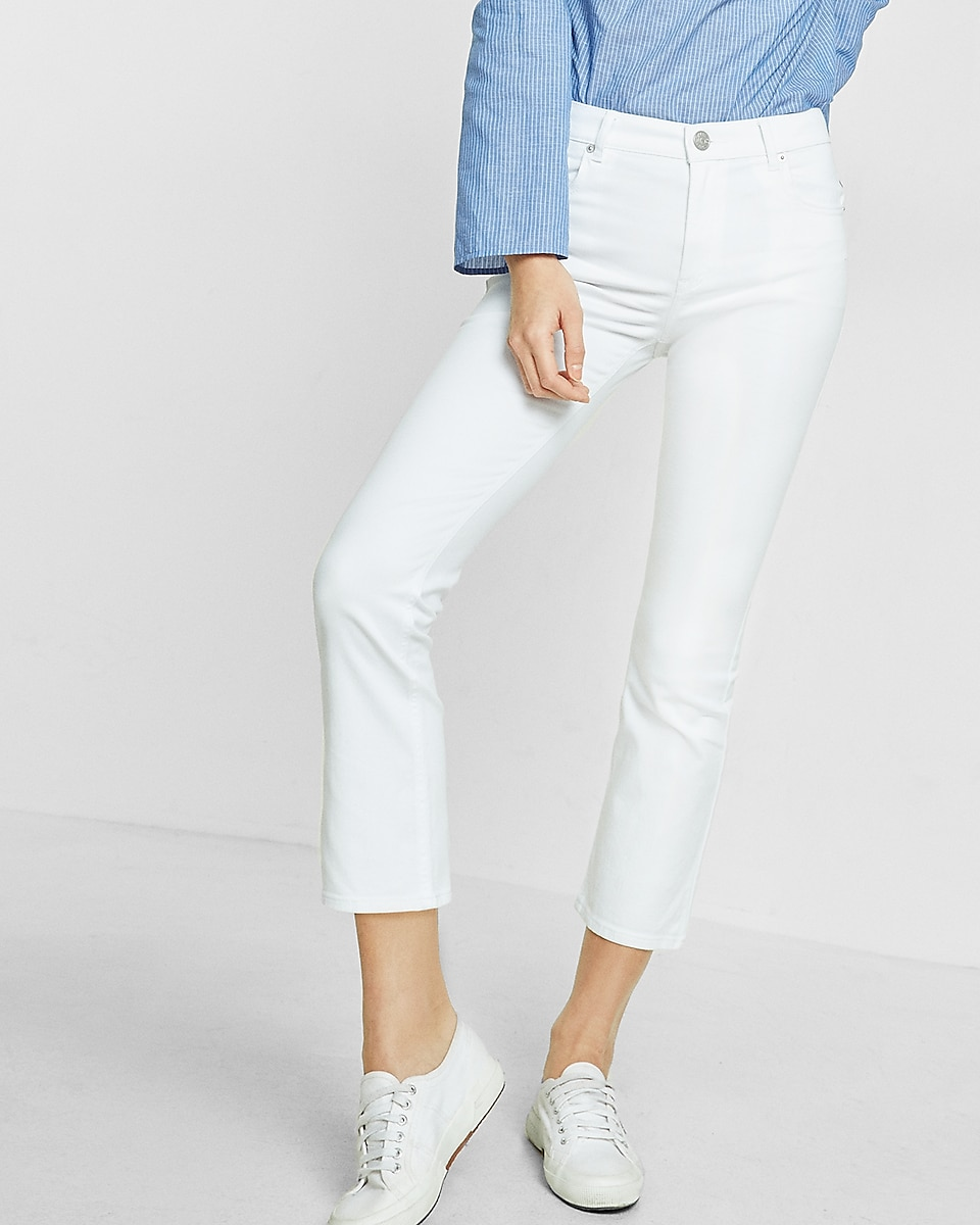 white high waisted bell cropped jeans