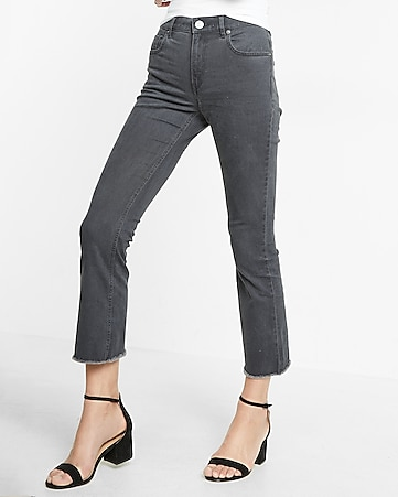 gray high waisted raw hem stretch bell cropped pant