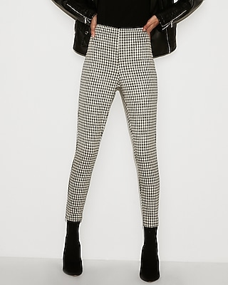 High Waisted Cropped Gingham Pull On Leggings by Express