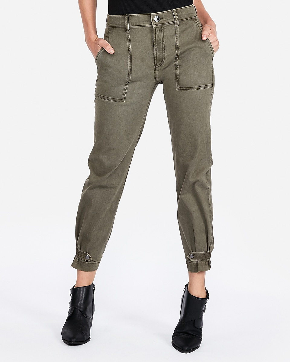 Petite high waisted straight cropped cinched hem utility pant