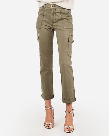 High Waisted Cropped Utility Cargo Pant by Express