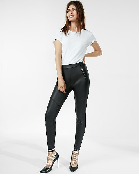 Faux Leather Moto Zip Leggings Express