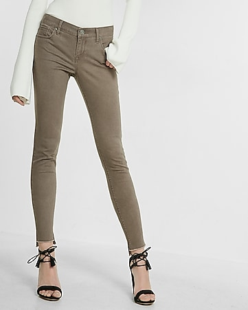 mid rise split hem stretch ankle leggings