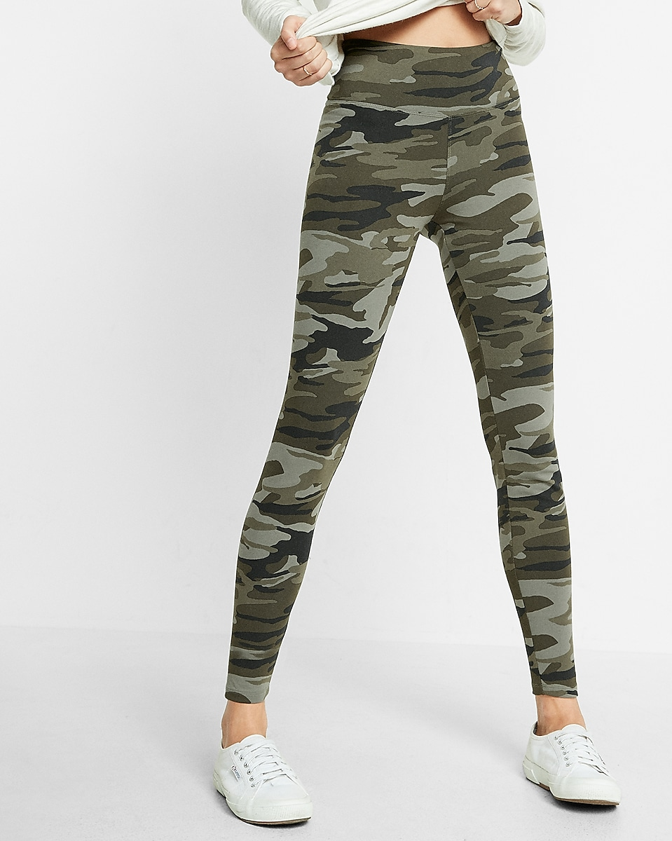 High Waisted Camouflage Print Leggings | Express