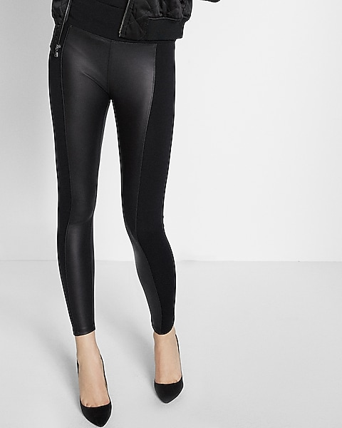 077ec351db91f High Waisted Faux Leather Panel Leggings | Express