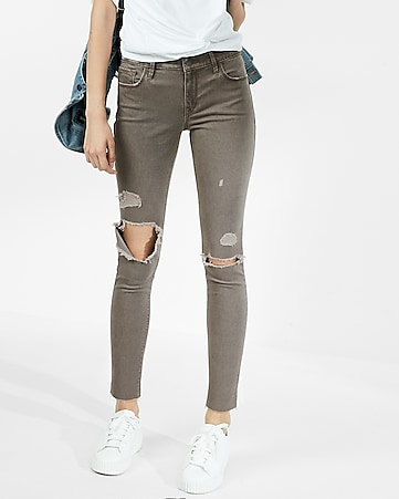 mid rise raw hem stretch ankle leggings