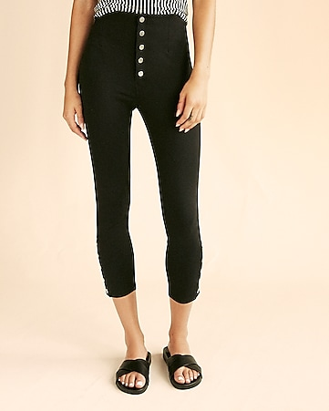 high waisted snap hem ponte leggings