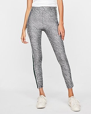 High Waisted Wide Stripe Marled Leggings by Express