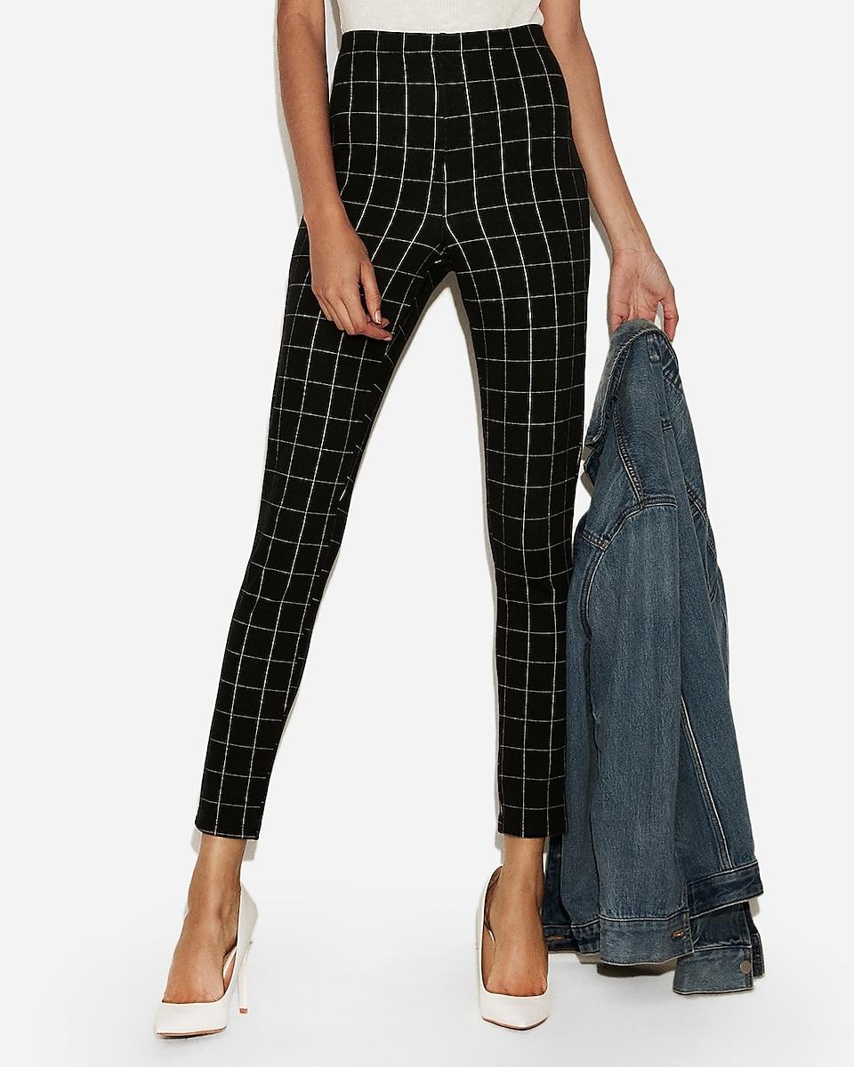 petite high waisted windowpane pull-on leggings