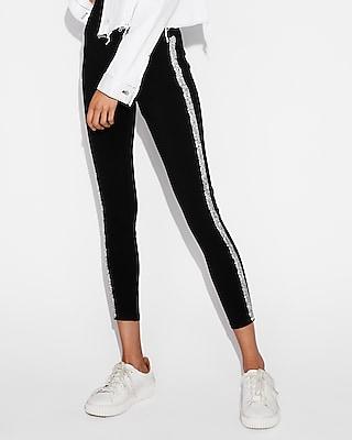 petite high waisted embellished side stripe leggings
