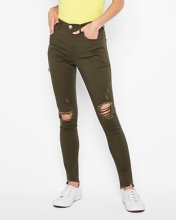 high waisted supersoft green ripped leggings