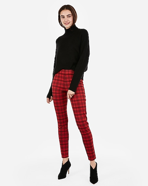 a49c8c0a8439d0 High Waisted Plaid Ankle Leggings | Express