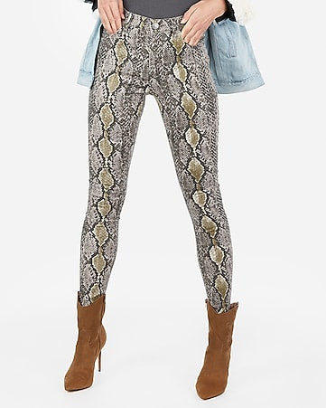 high waisted snakeskin print leggings
