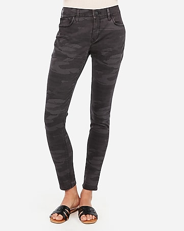 mid rise gray camo jean leggings