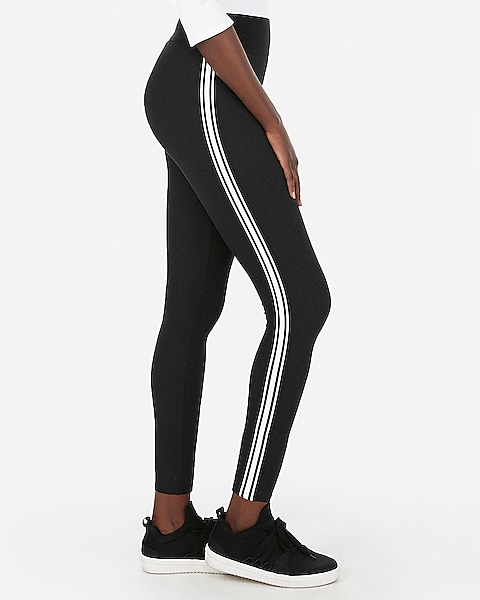 2c633b371095c5 Express One Eleven High Waisted Ribbed Side Striped Supersoft Leggings |  Express