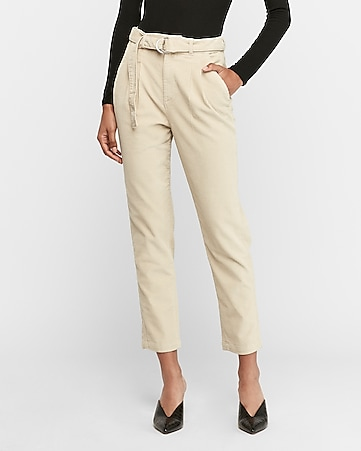 High Waisted Belted Corduroy Trouser Pant by Express