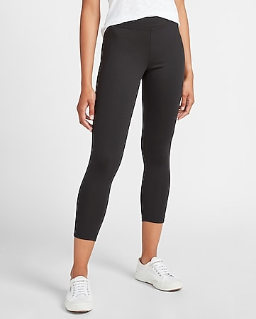 High Waisted Seamed Front Zip Compression Leggings Express