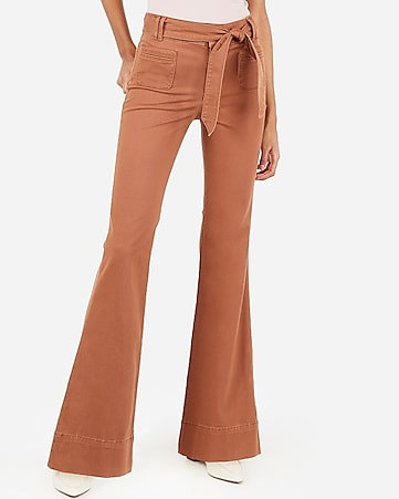 high waisted belted flare pant