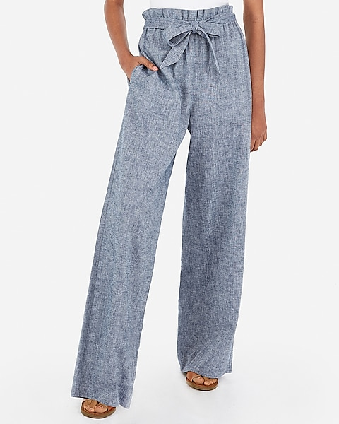 bb0219a07223 High Waisted Linen-blend Sash Tie Wide Leg Pant | Express