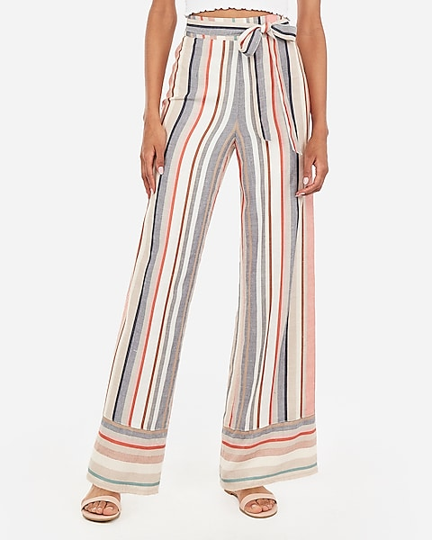 f03482308c52 High Waisted Multi-striped Sash Tie Wide Leg Pant | Express