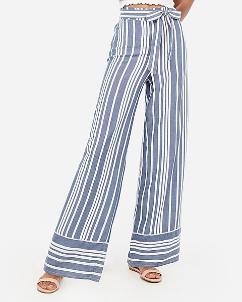 d50041e7ec20 High Waisted Striped Sash Tie Wide Leg Pant | Express