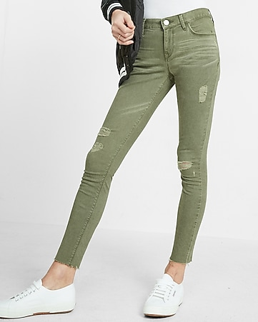mid rise raw hem five pocket stretch ankle legging