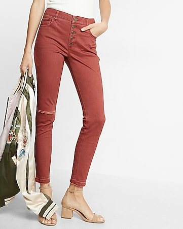 high waisted button fly stretch ankle leggings