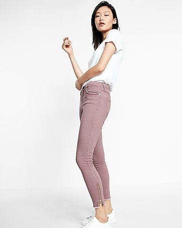 mid rise zip hem five pocket stretch ankle leggings
