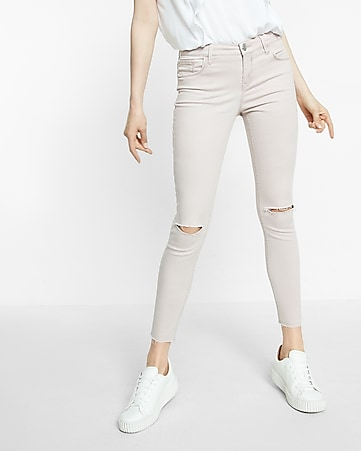 mid rise raw cut distressed knee ankle leggings