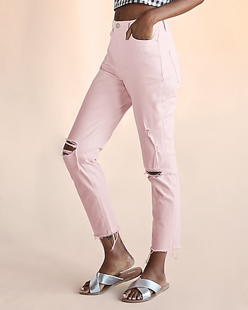 high waisted pink destroyed stretch girlfriend jeans