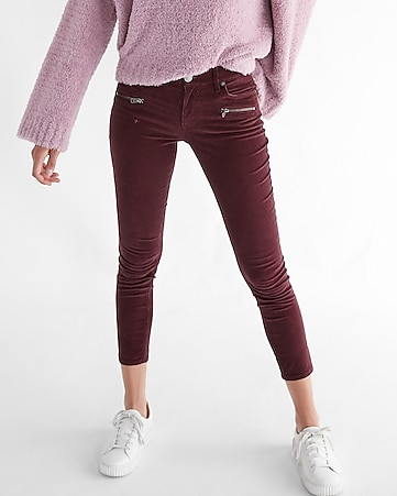 mid rise corduroy zip pocket ankle leggings