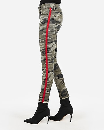 mid rise camo side stripe ankle leggings