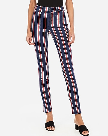 high waisted striped button fly ankle leggings