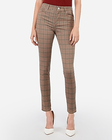 High Waisted Plaid Stretch Ankle Leggings by Express
