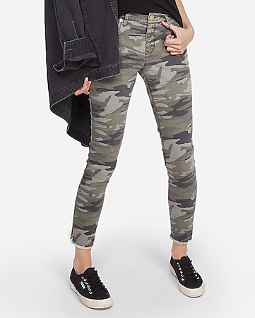 mid rise camo print stretch ankle leggings