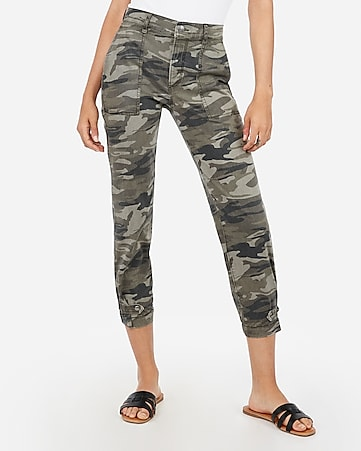 high waisted straight cropped cinched hem camo pant