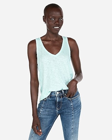 51d57f0043201 Express View · express one eleven slub v-neck easy tank