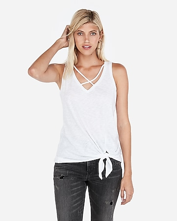 2ea582294c0e2 Express View · express one eleven strappy tie hem tank