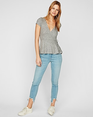 Express One Eleven Ribbed Tie Waist Surplice Top by Express