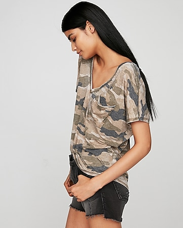 5fbb8690d830f express view · express one eleven camo double v london tee