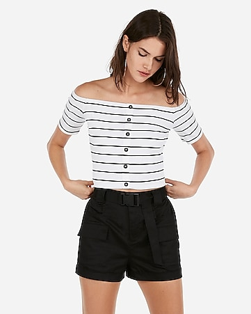 d3832b42ca71d6 Express View · olivia culpo striped cropped off the shoulder button top