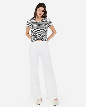 8db552c720 Express View · express one eleven striped twist front tie back top