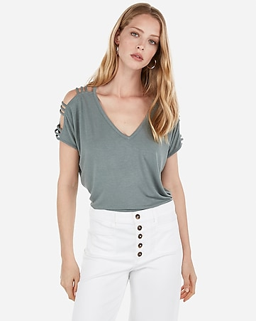 6bfb28777a Express View · express one eleven strappy sleeve dolman tee
