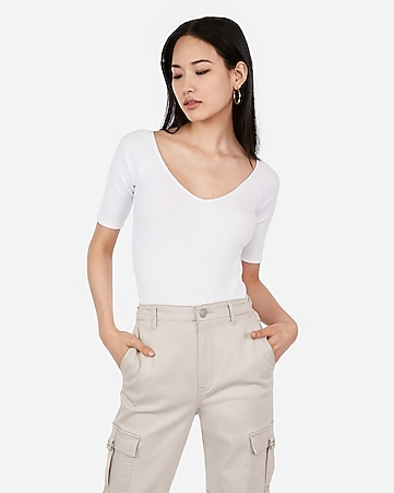 06ee8308136d Express View · express one eleven ribbed off the shoulder elbow sleeve shirt