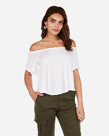 53d445bfc5 Express View · express one eleven slub off the shoulder relaxed tee