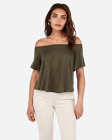 02e1d81d4635 Express View · express one eleven slub off the shoulder relaxed tee
