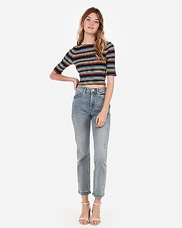 008ea89d74 Express View · express one eleven rainbow striped modern rib crew neck crop  top