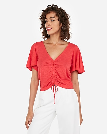 Express One Eleven Cinched Flutter Sleeve Tee by Express