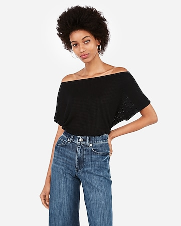 87c9358bfb5b4f Express View · express one eleven off the shoulder waffle knit tee
